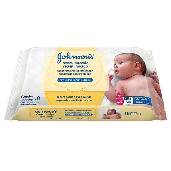Kit com 2 Lenços Umedecidos JOHNSON'S Baby Recém Nascido Sem Fragrância 48unidades