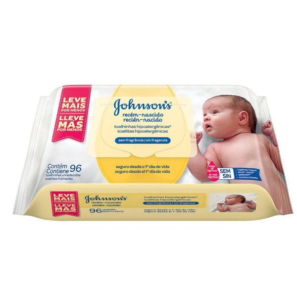 Kit com 2 Lenços Umedecidos JOHNSON'S Baby Recém Nascido Sem Fragrância 96 unidades