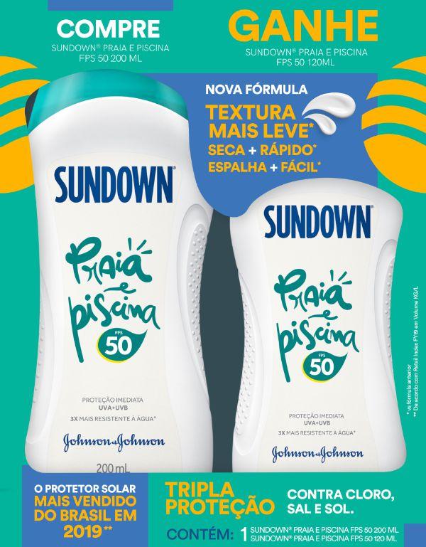 Promopack Protetor Solar Sundown Praia e Piscina FPS 50 200ml + Protetor Sundown FPS 50 120ml
