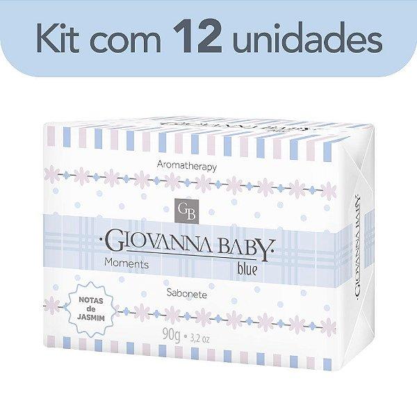 Kit c/ 12 Sabonete Retangular Blue Giovanna Baby Moments 90 g