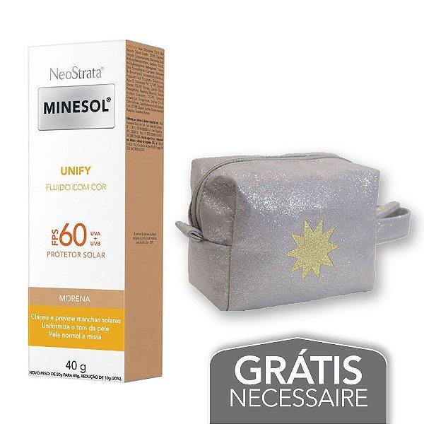 Na compra de 1 Neostrata Minesol Unify Fluido com cor Pele Morena FPS 60 40g Leve 1 Necessaire Prata com Glitter