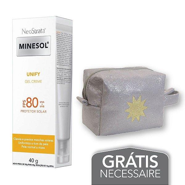 Na compra de 1 Neostrata Minesol Unify FPS 80 40g Leve 1 Necessaire Prata com Glitter Minesol