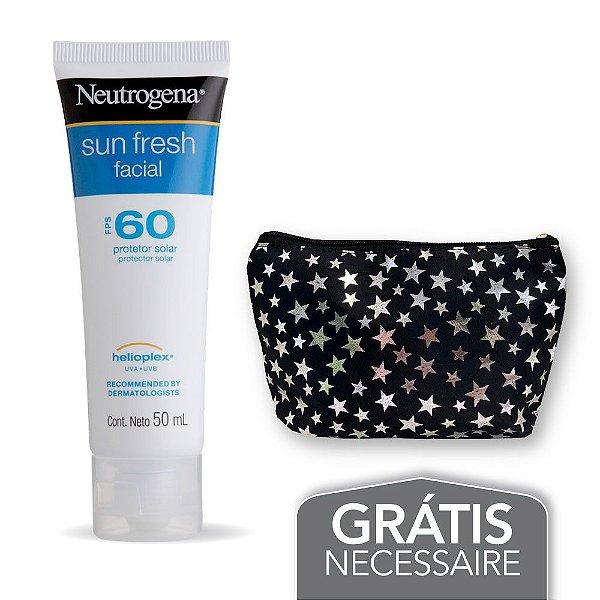 Na compra de 1 Protetor Solar NEUTROGENA Sun Fresh Facial FPS 60 50g Leve Necessaire Estrela Neutrogena