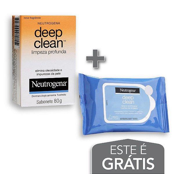 Na compra de 2 Sabonete Facial NEUTROGENA  DEEP CLEAN 80g Leve 1 Lenço Demaquilante NEUTROGENA DEEP CLEAN 7un