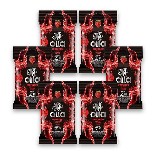 Kit c/ 6 Preservativo OLLA Lubrificado Sabor Morango 3 unidades