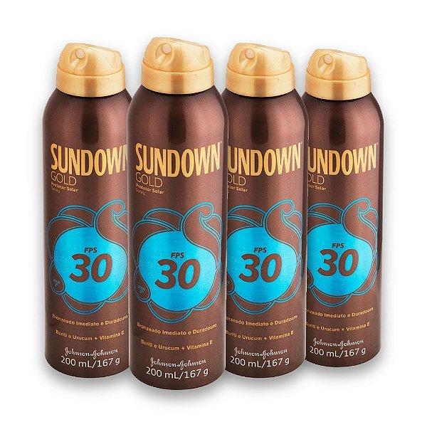 Kit com 4 Protetores Solar SUNDOWN Gold FPS 30 Spray 200ml