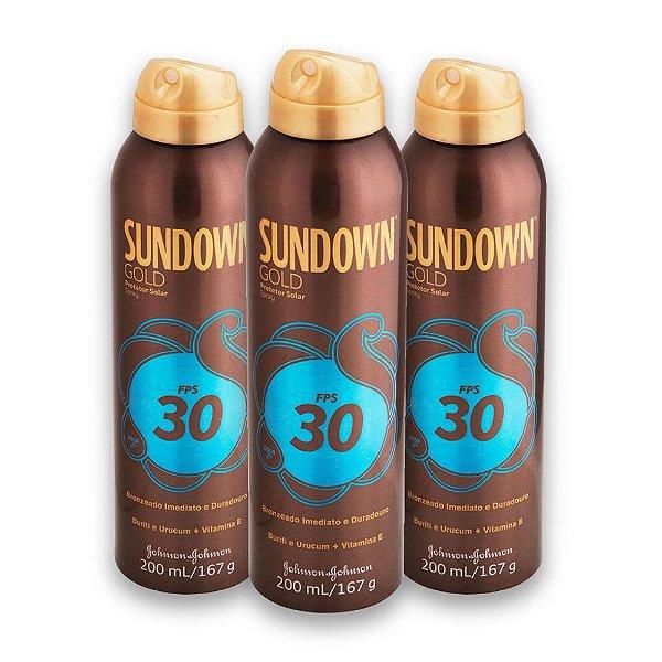 Kit com 3 Protetores Solar SUNDOWN Gold FPS 30 Spray 200ml