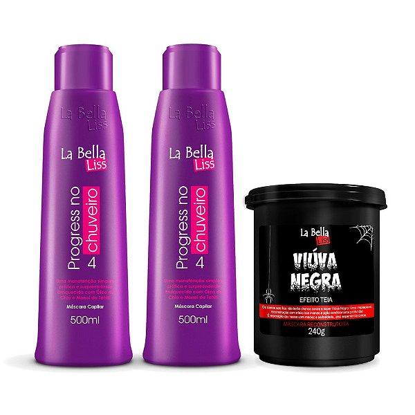 Kit 2 Progress no chuveiro 500ml e Máscara Viúva Negra 240g La Bella Liss