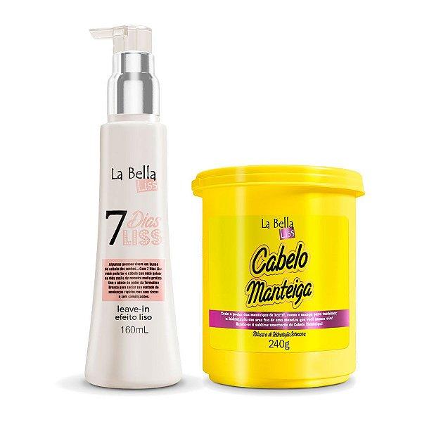 Kit Máscara de Nutrição Cabelo Manteiga 240g e Leave-in Efeito Liso 7 Dias Liss 160ml La Bella Liss