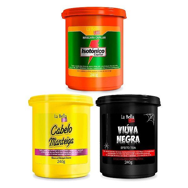 Kit Cronograma Capilar Isôtonico Capilar, Cabelo Manteiga e Viúva Negra 240g La Bella Liss