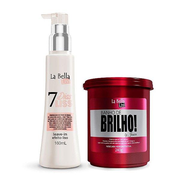 Kit Leave-in 7 Dias Liss 160ml e Máscara Hidronutritiva Banho de Brilho 240g La Bella Liss