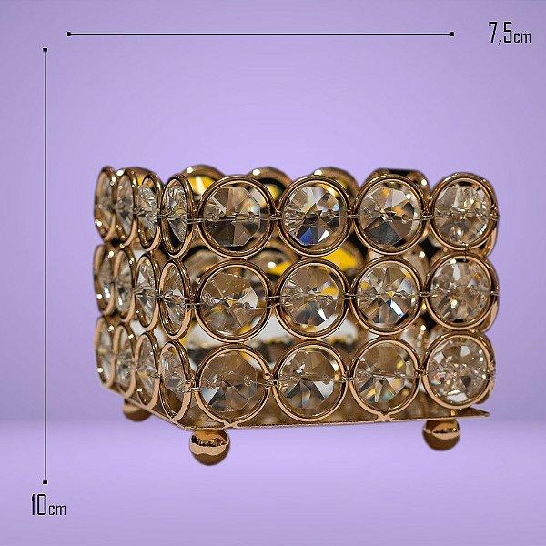 199 - Castiçal Quadrado Dourado