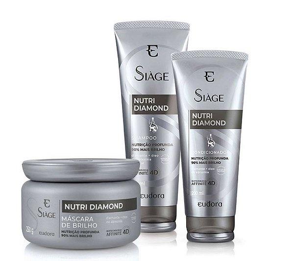 Kit Siàge Nutri Diamond Shampoo + Condicionador + Máscara Capilar (Nova Versão)