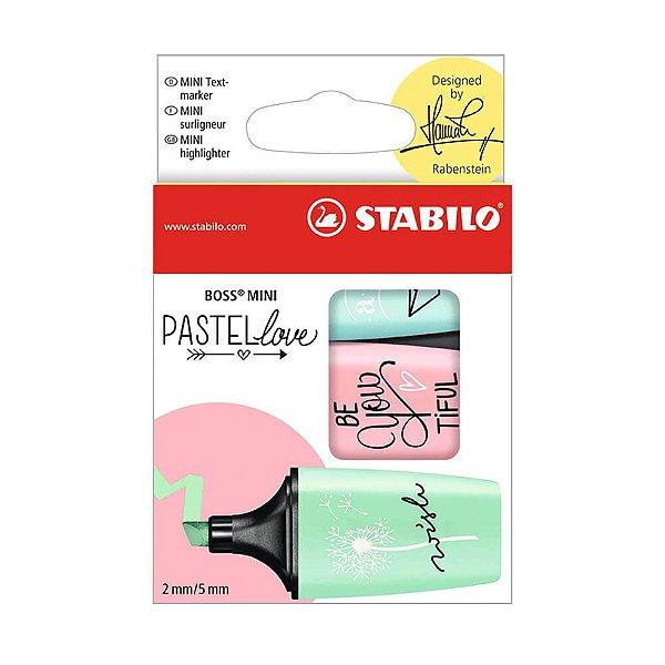 Kit Marca Texto Pastel Love Stabilo Mini Boss com 3 cores  - 55.3100