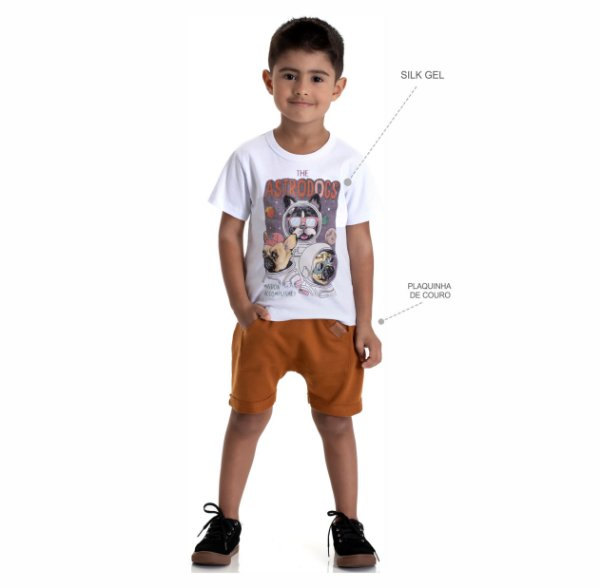 Kit 3 Camisetas Meia Malha Detalhe Silk Gel 1 a 3