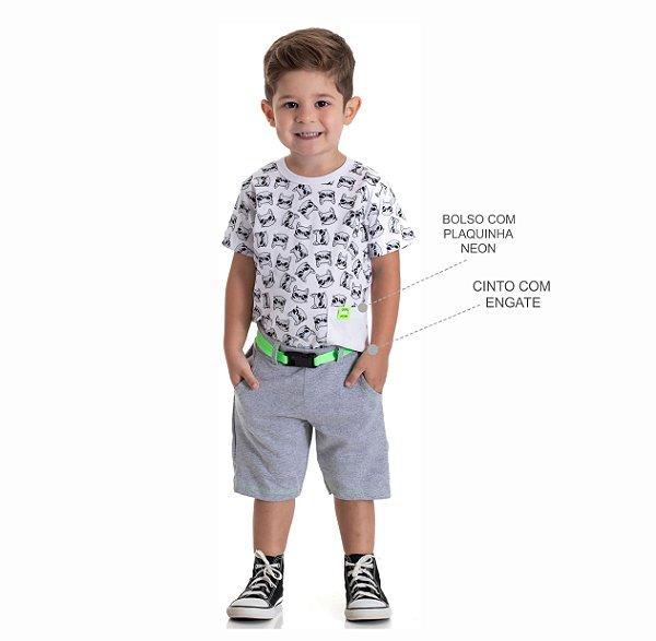 Kit 3 Camisetas Meia Malha com Bolso e Plaquinha Neon 1 a 3