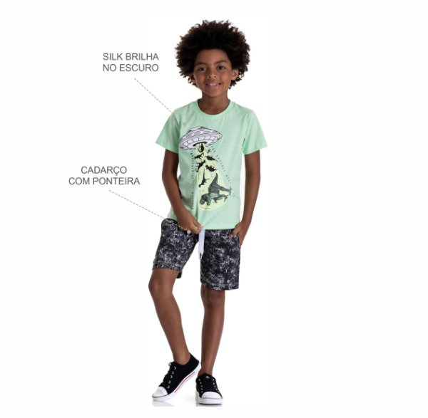 Kit 3 Conjuntos Camiseta + Bermuda Moletinho Marmorizado 4 a 8