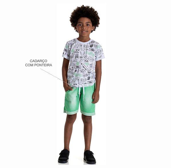 Kit 3 Camisetas Meia Malha Estampa Neon Frente e Costas 4 a 8