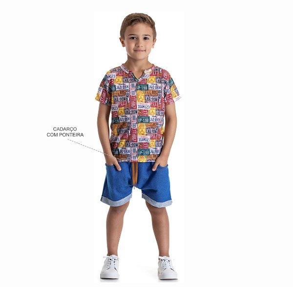 Kit 3 Conjuntos Camiseta + Bermuda Moletinho Jeans 4 a 8