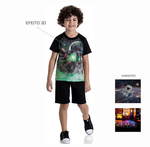 Kit 3 Camisetas Meia Malha Estampa Efeito 3D 4 a 8