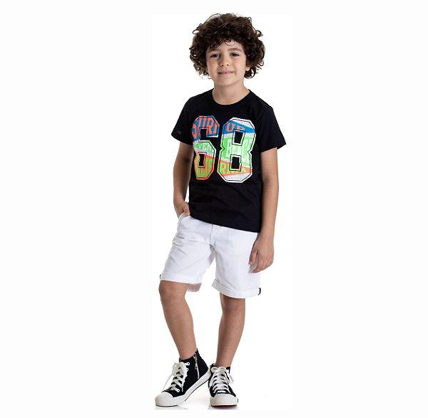 Kit 3 Camisetas Meia Malha Estampa 68 Colorido 4 a 8