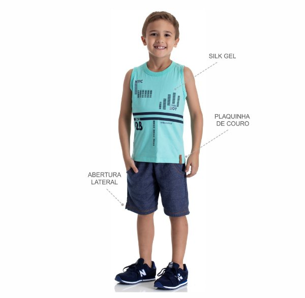 Kit 3 Conjuntos Regata + Bermuda Moletinho Jeans 4 a 8