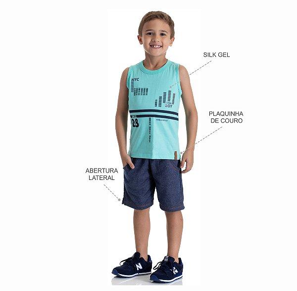 Kit 3 Bermudas Moletinho Jeans com Bolso 4 a 8