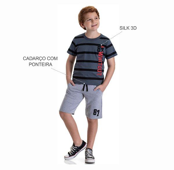 Kit 3 Conjuntos Camiseta + Bermuda Moletinho 10 a 14
