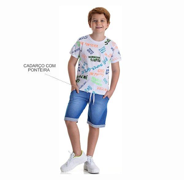 Kit 3 Conjuntos Camiseta Neon + Bermuda Moletinho Jeans 10 a 14