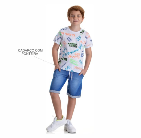 Kit 3 Bermudas Moletinho Jeans com Bolso e Cadarço 10 a 14