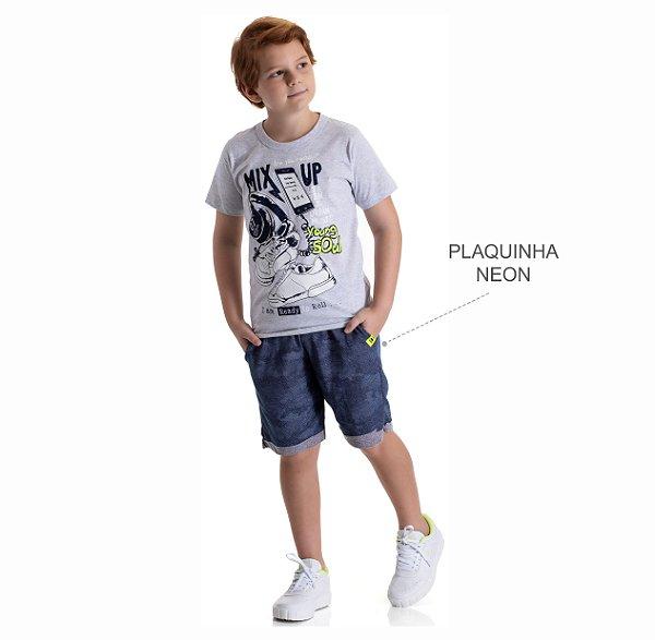 Kit 3 Conjuntos Camiseta + Bermuda Moletinho Jeans Camulfado 10 a 14