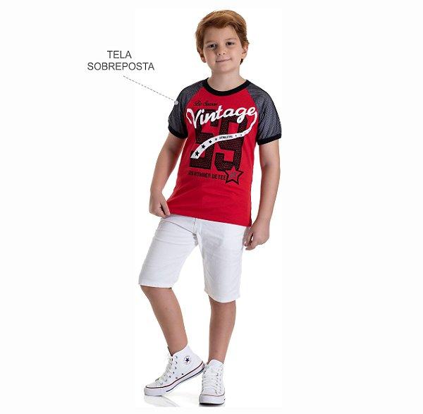 Kit 3 Camisetas Meia Malha Manga com Tela 10 a 14