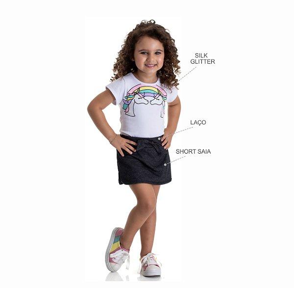 Kit 3 Short Saias Moletinho Jeans Detalhe Laço 1 a 3