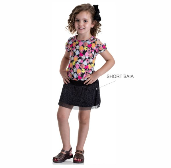 Kit 3 Conjuntos Blusa + Short Saia Tule Lurex 1 a 3