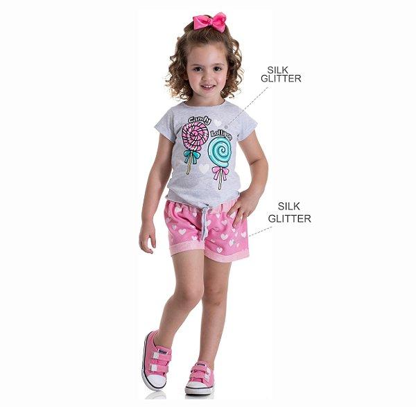 Kit 3 Blusas Meia Malha Estampa Pirulito com Glitter 1 a 3