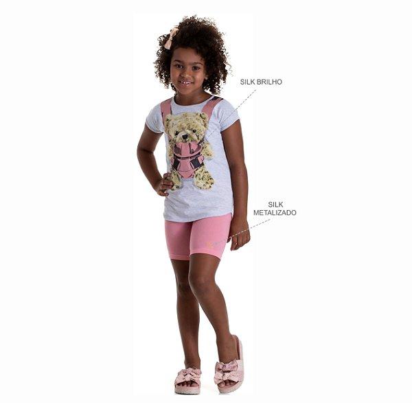 Kit 3 Blusas de Meia Malha Estampa com Brilho 4 a 8