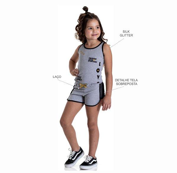 Kit 3 Shorts Cotton Detalhe Tela na Lateral e Laço no Cós 4 a 8