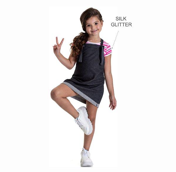 Kit 3 Blusas de Cotton Listrada com Glitter 4 a 8