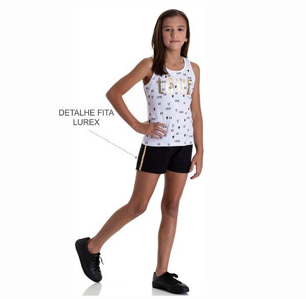 Kit 3 Shorts de Moletinho com Detalhe Fita Lurex Lateral 10 a 14