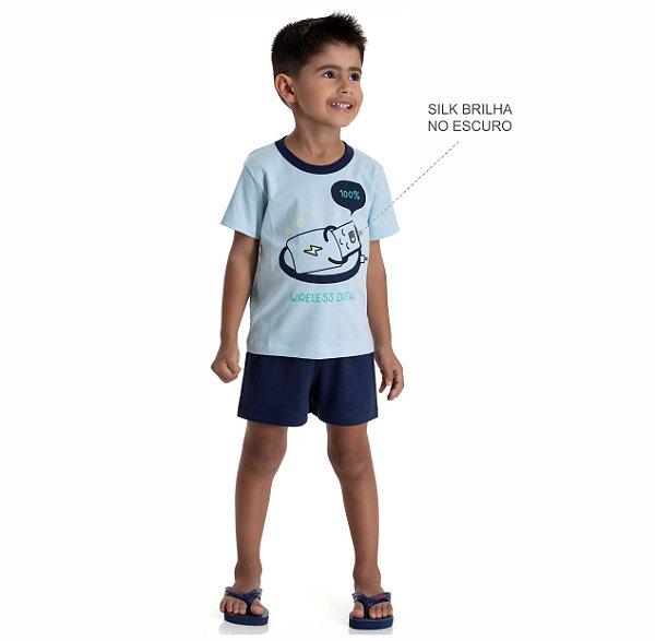 Kit 3 Pijamas Meia Malha Brilha no Escuro Meninos 1 a 3