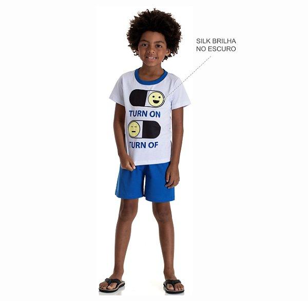 Kit 3 Pijamas Meia Malha Brilha no Escuro Meninos 4 a 8