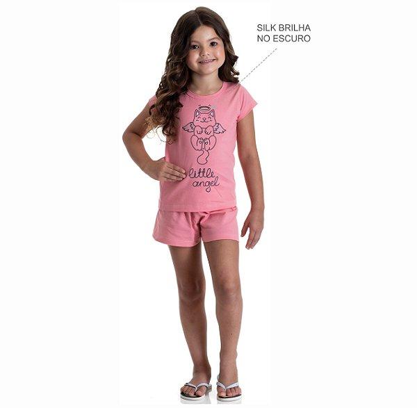 Kit 3 Pijamas Meia Malha Brilha no Escuro Meninas 4 a 8