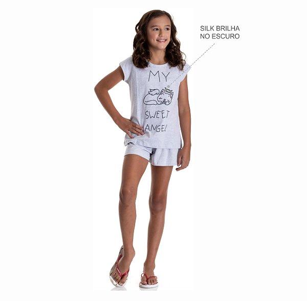 Kit 3 Pijamas Meia Malha Brilha no Escuro Meninas 10 a 14