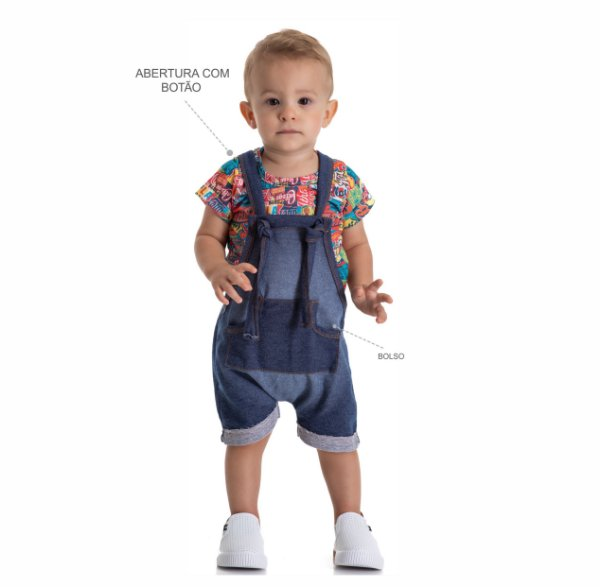 Kit 3 Conjuntos Body + Jardineira Moletinho Jeans P a G