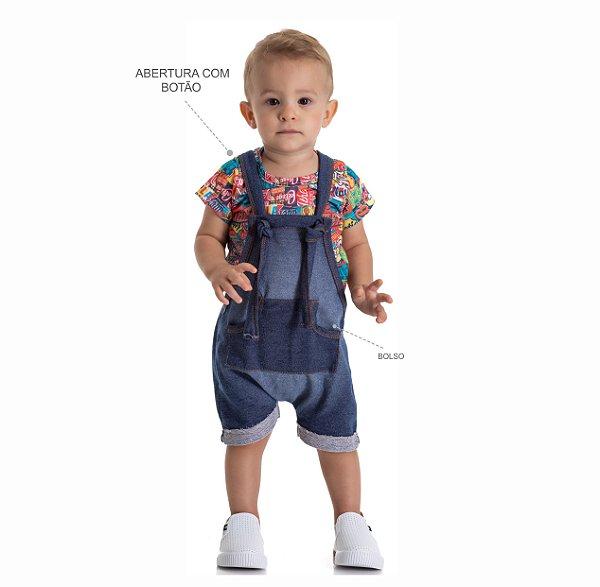 Kit 3 Jardineiras Moletinho Jeans com Bolso P a G