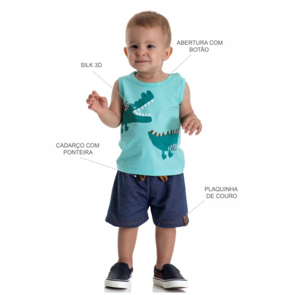 Kit 3 Conjuntos Regata + Bermuda Moletinho Jeans P a G