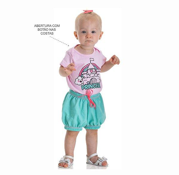 Kit 3 Conjuntos Body + Short Moletinho Jeans P a G