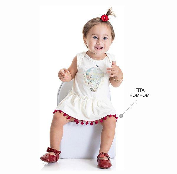Kit 3 Bodies Regata Cotton com Detalhe Fita Pompom P a G
