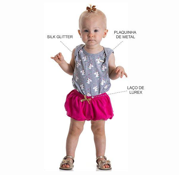 Kit 3 Bodies Regata Cotton com Estampa Glitter P a G