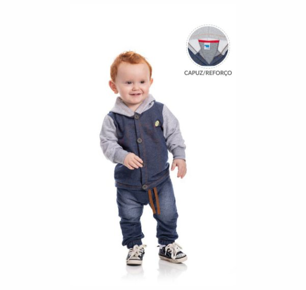Kit 3 Conjuntos Moletinho Jeans P/G